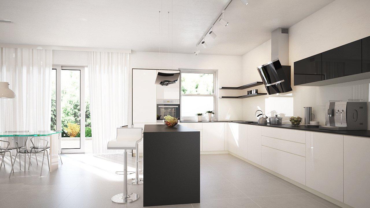 Kuchnia w stylu nowoczesnym z okapem przyściennym Altemo Black  1 GLOBALO M   -> Kuchnia Amica Exclusive I