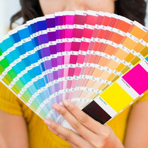 Close-up of a color spectrum in the female hands