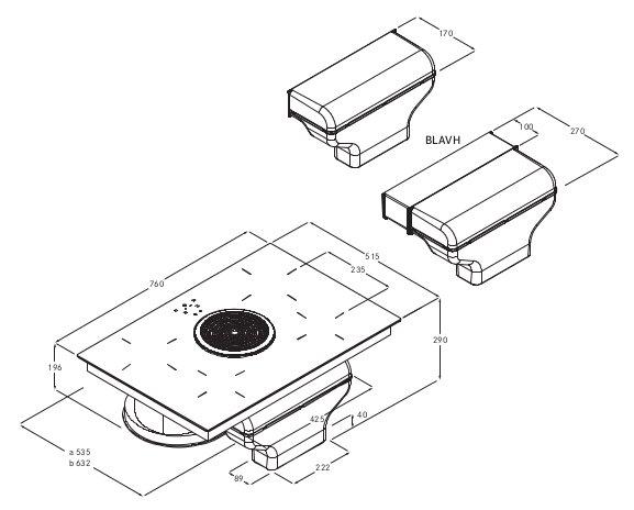 Rysunek techniczny okapu Bora Basic BIA