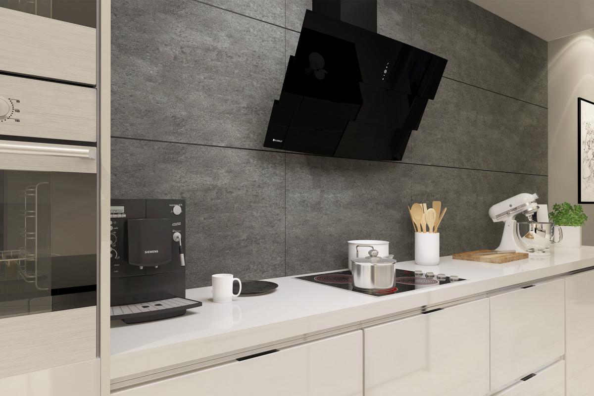 Projekt nowoczesnej kuchni ze skosnym okapem kuchennym Vintio Black Eko Max
