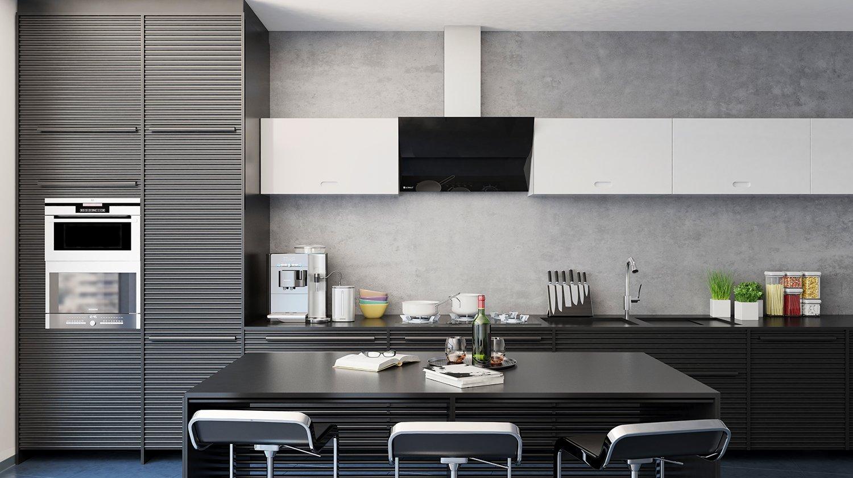 Projekt nowoczesnej kuchni z czarnym okapem skośnym Mirida   -> Kuchnia Z Okapem