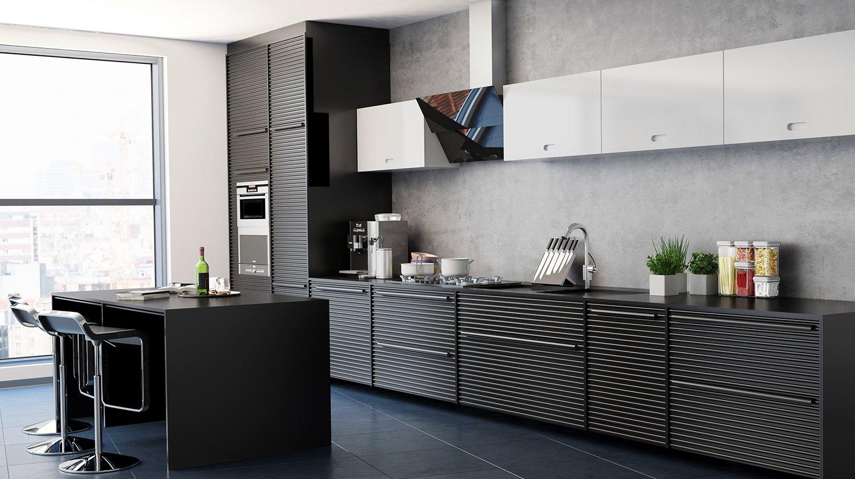 Projekt nowoczesnej kuchni z czarnym okapem skośnym Mirida   -> Kuchnia Z Okapem Teleskopowym
