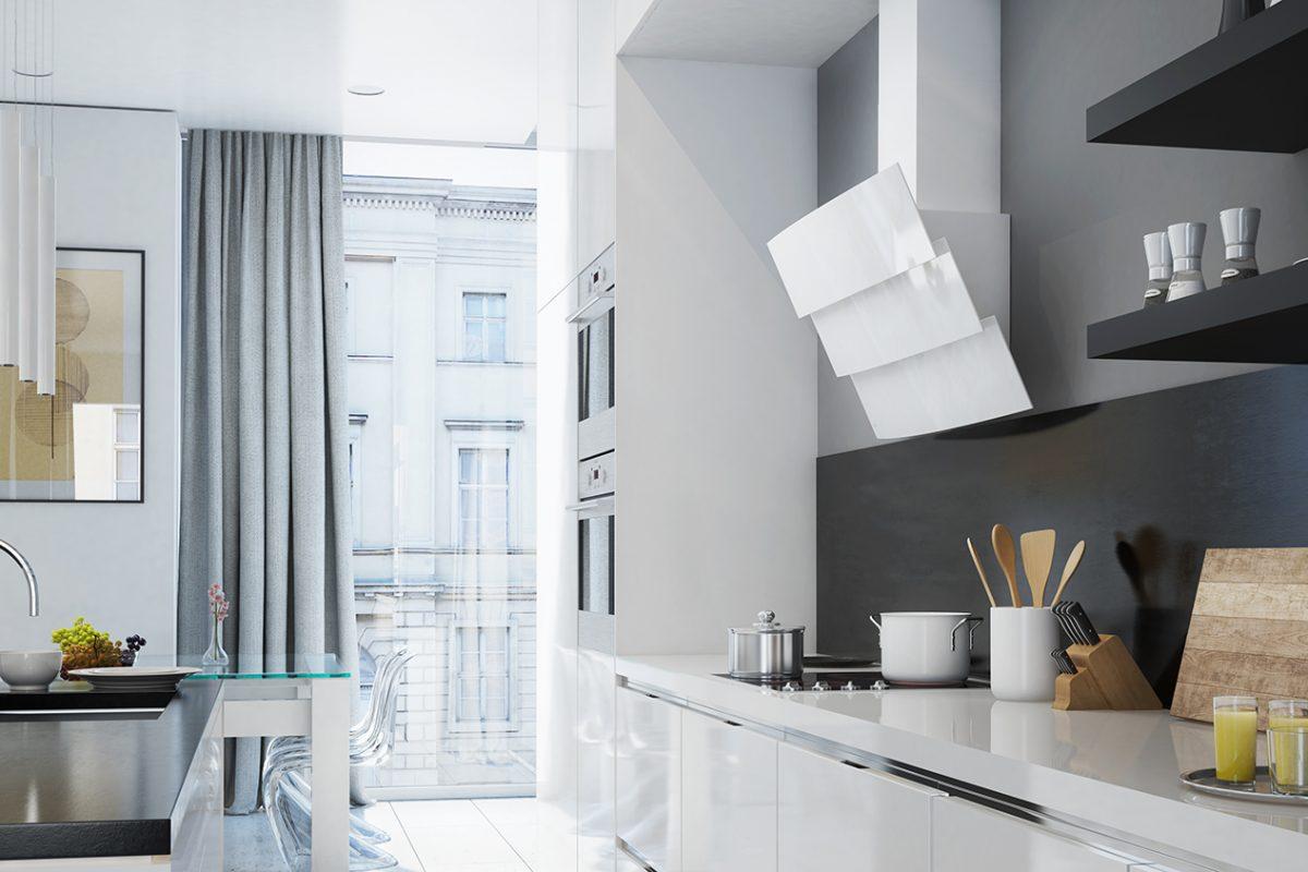 Wizualizacja nowoczesnej kuchni z okapem przyściennym skośnym Vintio White GLOBALO 1