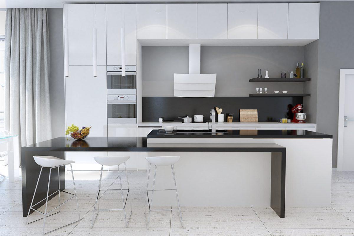Wizualizacja nowoczesnej kuchni z okapem przyściennym skośnym Vintio White GLOBALO 2