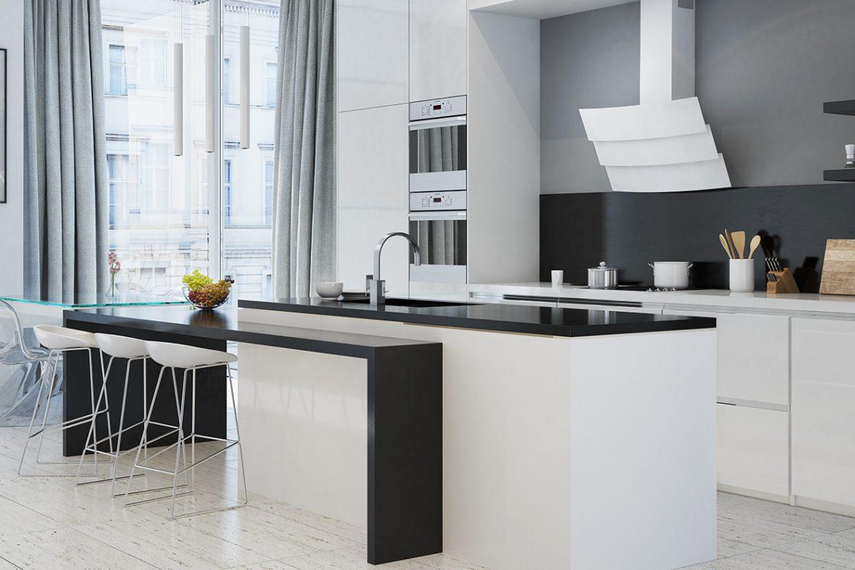 Wizualizacja nowoczesnej kuchni z okapem przyściennym skośnym Vintio White GLOBALO 3