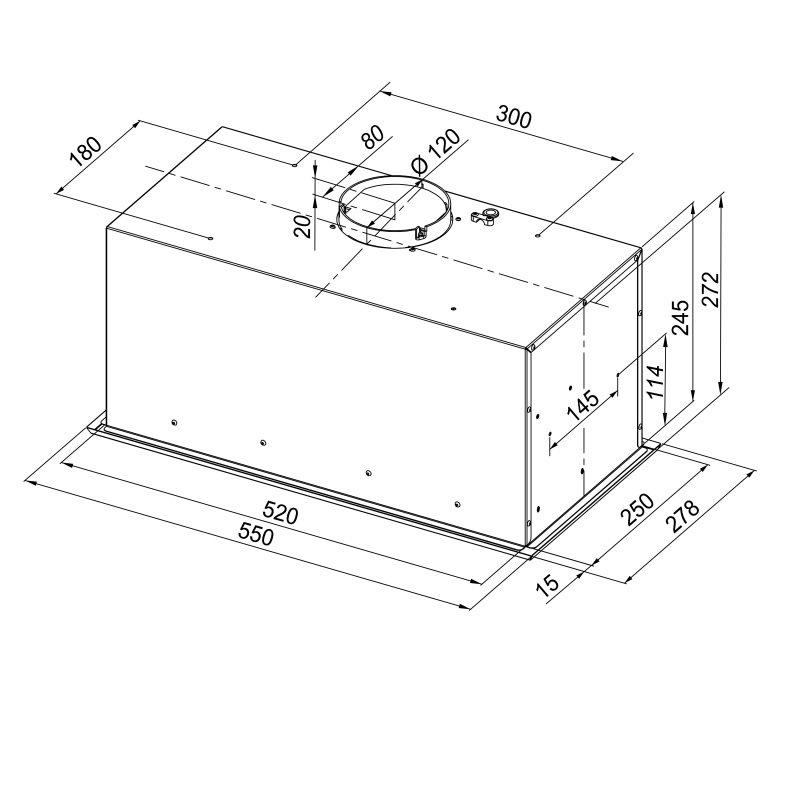 Rysunek techniczny okapu Insolita 60.1 Inox